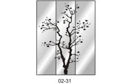 Пескоструйный рисунок 02-31 на три двери шкафа-купе. Дерево