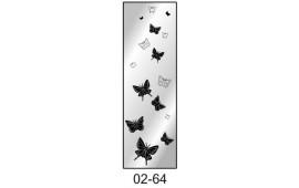 Пескоструйный рисунок 02-64 на одну дверь шкафа-купе. Бабочки