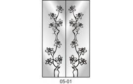 Пескоструйный рисунок 05-01 на две двери шкафа-купе. Цветы