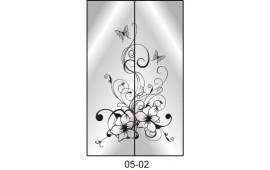 Пескоструйный рисунок 05-02 на две двери шкафа-купе. Цветы
