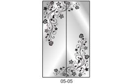 Пескоструйный рисунок 05-05 на две двери шкафа-купе. Цветы