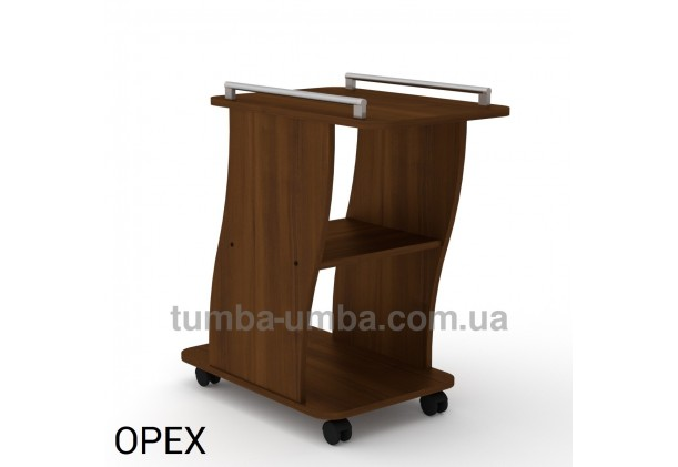 фото недорогой высокий сервировочный стол Вена ДСП Компанит на колесиках цвет орех экко в интернет-магазине мебели эконом-класса TUMBA-UMBA™