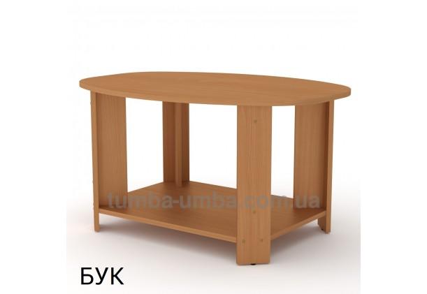 фото недорогой современный журнальный стол Овал ДСП Компанит цвет бук в интернет-магазине мебели эконом-класса TUMBA-UMBA™