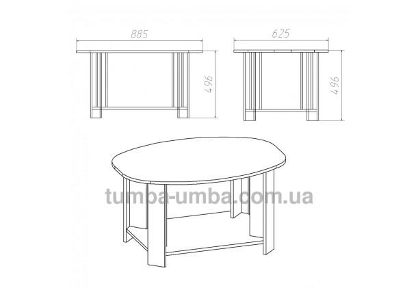 фото размеров и габаритов недорогого современного журнального стола Овал ДСП Компанит в интернет-магазине мебели эконом-класса TUMBA-UMBA™