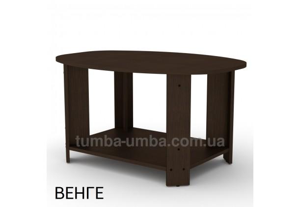 фото недорогой современный журнальный стол Овал ДСП Компанит цвет венге в интернет-магазине мебели эконом-класса TUMBA-UMBA™