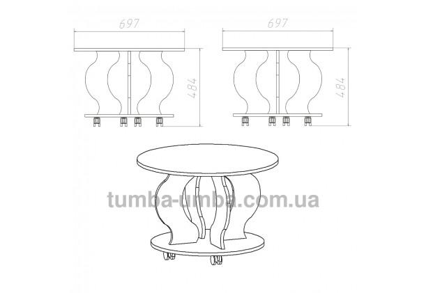 фото размеров и габаритов недорогого современного журнального стола Ринг ДСП Компанит в интернет-магазине мебели эконом-класса TUMBA-UMBA™