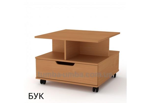фото недорогой современный журнальный стол Фаворит ДСП Компанит цвет бук в интернет-магазине мебели эконом-класса TUMBA-UMBA™