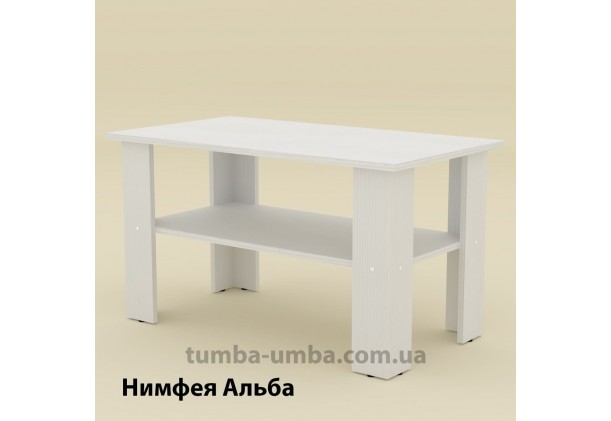 фото недорогой современный журнальный стол Мадрид-2 Компанит цвет Нимфея Альба (белый структурный) в интернет-магазине мебели эконом-класса TUMBA-UMBA™