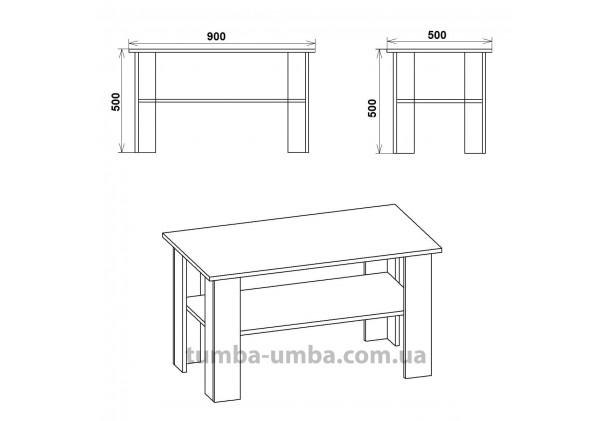 фото размеров и габаритов недорогого современного журнального стола Мадрид-2 ДСП Компанит в интернет-магазине мебели эконом-класса TUMBA-UMBA™