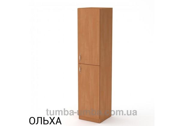Фото недорогой стандартный мебельный распашной пенал КШ-13 ДСП с полками для дома и офиса в цвете ольха дешево от производителя с доставкой по всей Украине