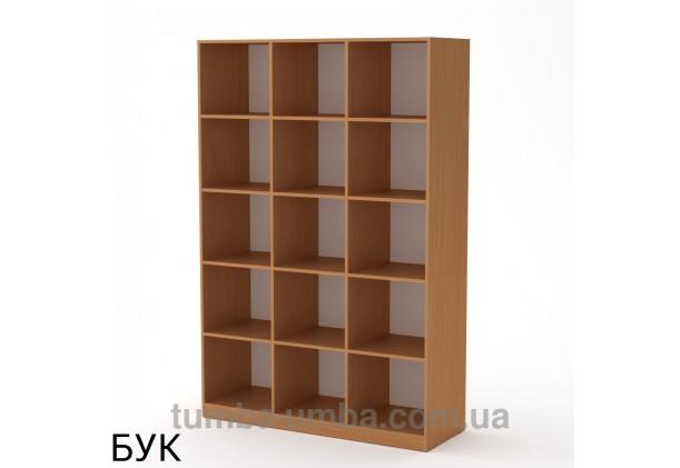 Фото недорогой стандартный мебельный открытый пенал-стеллаж КШ-3 ДСП с полками для дома и офиса в цвете бук дешево от производителя с доставкой по всей Украине
