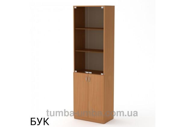 Фото недорогой стандартный мебельный распашной пенал КШ-6 ДСП с полками для дома и офиса в цвете бук дешево от производителя с доставкой по всей Украине