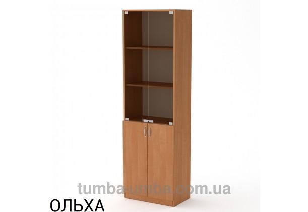 Фото недорогой стандартный мебельный распашной пенал КШ-6 ДСП с полками для дома и офиса в цвете ольха дешево от производителя с доставкой по всей Украине