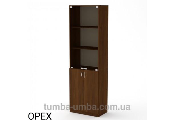 Фото недорогой стандартный мебельный распашной пенал КШ-6 ДСП с полками для дома и офиса в цвете Орех Экко дешево от производителя с доставкой по всей Украине