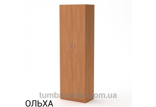Фото недорогой стандартный мебельный распашной пенал КШ-7 ДСП с полками для дома и офиса в цвете ольха дешево от производителя с доставкой по всей Украине