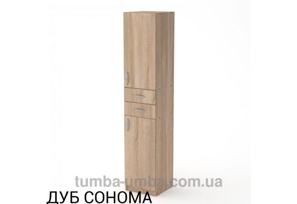 Фото недорогой стандартный мебельный распашной Пенал-3 МДФ с полками для дома и офиса в цвете дуб сонома дешево от производителя с доставкой по всей Украине