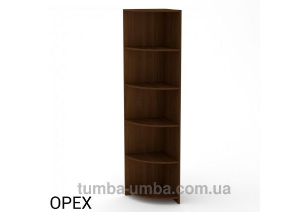 Фото недорогой стандартный мебельный открытый угловой Пенал-1 ДСП с полками для дома и офиса в цвете Орех Экко дешево от производителя с доставкой по всей Украине