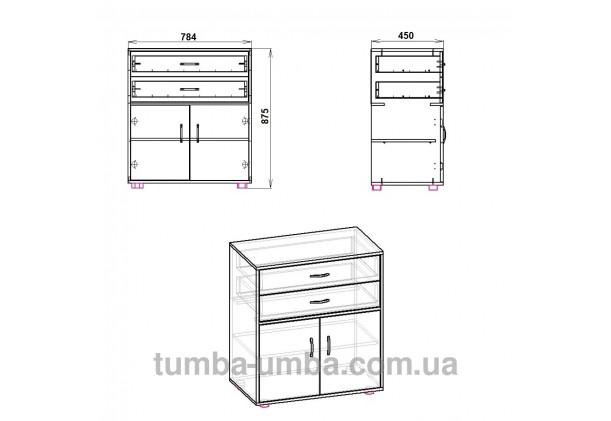 Фото схема-чертёж комода 2+2 Компанит с размерами в интернет-магазине эконом-класса TUMBA-UMBA™ Украина