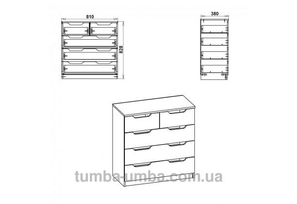 Фото схема-чертёж комода 2+3М, 5 глубоких ящиков Компанит с размерами в интернет-магазине эконом-класса TUMBA-UMBA™ Украина