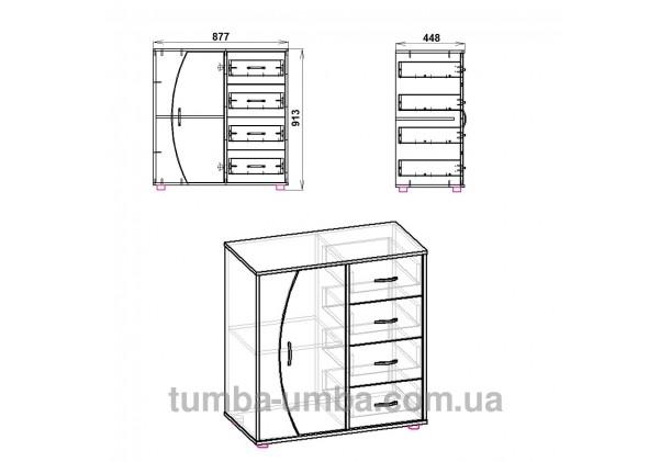 Комод 4-1-1 с дверцами и ящиками
