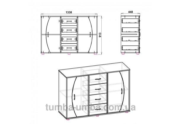 Комод 4-2-2 с дверцами и ящиками