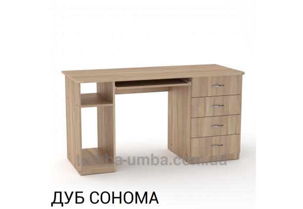 Фото готовый прямой стандартный стол СКМ-11 в офис или домой для ноутбука или ПК в цвете дуб сонома дешево от производителя с доставкой по всей Украине