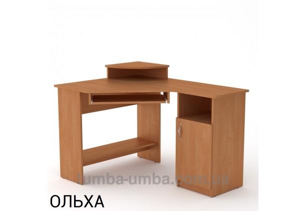 Фото готовый угловой стандартный стол СУ-1 в офис или домой для ноутбука или ПК в цвете ольха дешево от производителя с доставкой по всей Украине