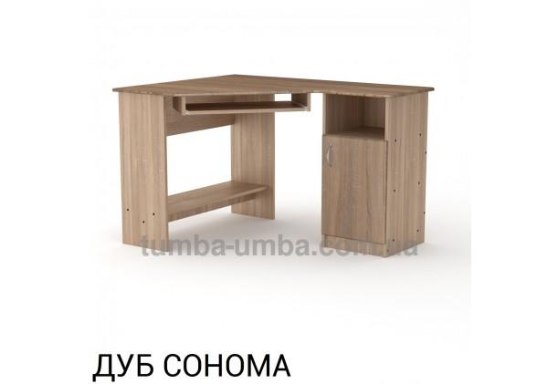 Фото готовый угловой стандартный стол СУ-13 МДФ в офис или домой для ноутбука или ПК в цвете дуб сонома дешево от производителя с доставкой по всей Украине