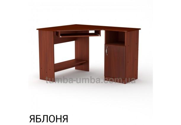 Фото готовый угловой стандартный стол СУ-13 МДФ в офис или домой для ноутбука или ПК в цвете яблоня дешево от производителя с доставкой по всей Украине