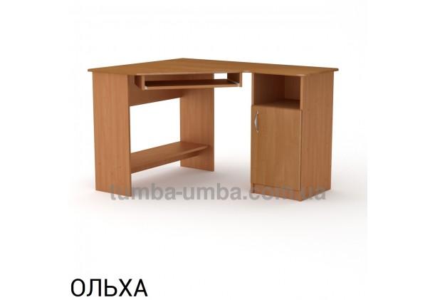 Фото готовый угловой стандартный стол СУ-13 МДФ в офис или домой для ноутбука или ПК в цвете ольха дешево от производителя с доставкой по всей Украине