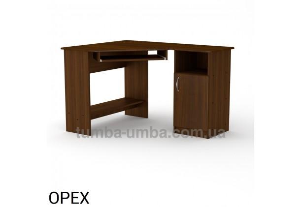 Фото готовый угловой стандартный стол СУ-13 МДФ в офис или домой для ноутбука или ПК в цвете Орех Экко дешево от производителя с доставкой по всей Украине