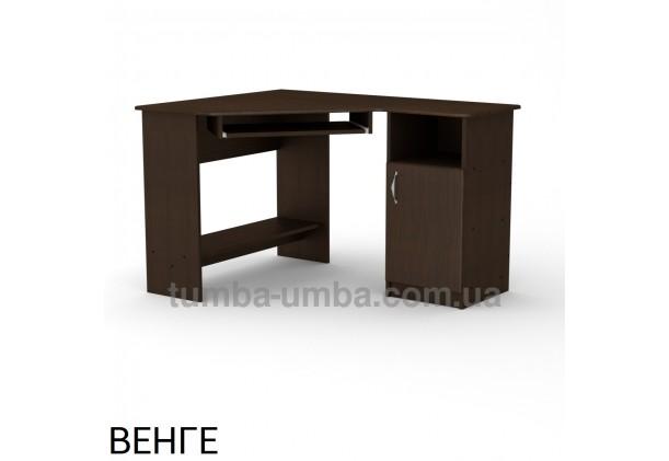 Фото готовый угловой стандартный стол СУ-13 МДФ в офис или домой для ноутбука или ПК в цвете венге дешево от производителя с доставкой по всей Украине