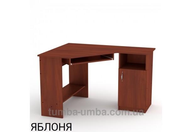 Фото готовый угловой стандартный стол СУ-13 в офис или домой для ноутбука или ПК в цвете яблоня дешево от производителя с доставкой по всей Украине