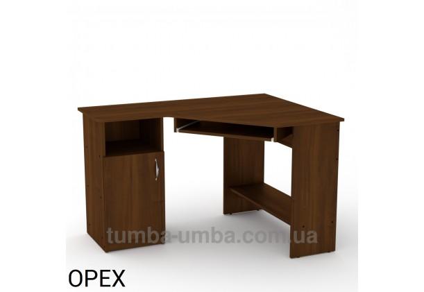 Фото готовый угловой стандартный стол СУ-14 в офис или домой для ноутбука или ПК в цвете Орех Экко дешево от производителя с доставкой по всей Украине