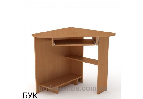 Фото готовый угловой стандартный стол СУ-15 в офис или домой для ноутбука или ПК в цвете бук дешево от производителя с доставкой по всей Украине