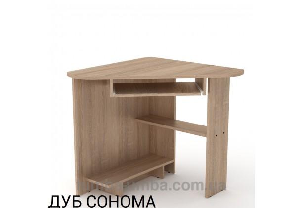 Фото готовый угловой стандартный стол СУ-15 в офис или домой для ноутбука или ПК в цвете дуб сонома дешево от производителя с доставкой по всей Украине