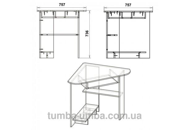 Фото схема с размерами готовый угловой стандартный стол СУ-15 в офис или домой для ноутбука или ПК дешево от производителя с доставкой по всей Украине