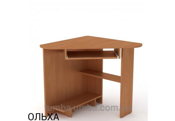 Фото готовый угловой стандартный стол СУ-15 в офис или домой для ноутбука или ПК в цвете ольха дешево от производителя с доставкой по всей Украине
