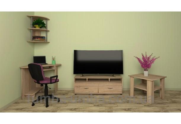 Фото готовый угловой стандартный стол СУ-15 в офис или домой для ноутбука или ПК в интерьере гостинной комнаты дешево от производителя с доставкой по всей Украине