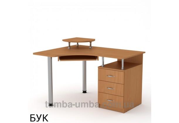 Фото готовый угловой стандартный стол СУ-2 в офис или домой для ноутбука или ПК в цвете бук дешево от производителя с доставкой по всей Украине