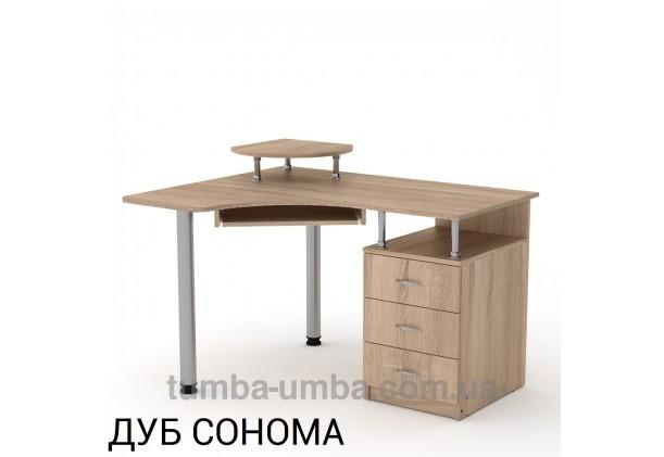 Фото готовый угловой стандартный стол СУ-2 в офис или домой для ноутбука или ПК в цвете дуб сонома дешево от производителя с доставкой по всей Украине