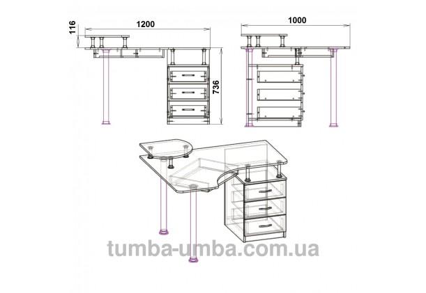 Фото схема с размерами готовый угловой стандартный стол СУ-2 в офис или домой для ноутбука или ПК дешево от производителя с доставкой по всей Украине