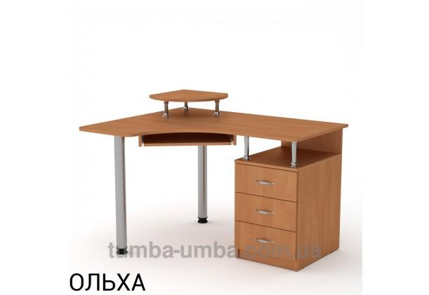 Фото готовый угловой стандартный стол СУ-2 в офис или домой для ноутбука или ПК в цвете ольха дешево от производителя с доставкой по всей Украине