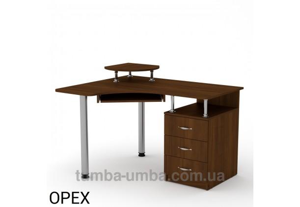 Фото готовый угловой стандартный стол СУ-2 в офис или домой для ноутбука или ПК в цвете Орех Экко дешево от производителя с доставкой по всей Украине