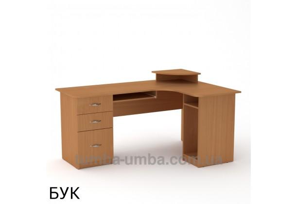 Фото готовый угловой стандартный стол СУ-3 в офис или домой для ноутбука или ПК в цвете бук дешево от производителя с доставкой по всей Украине