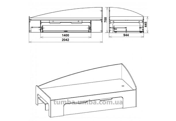 Кровать-90+1 с ящиками