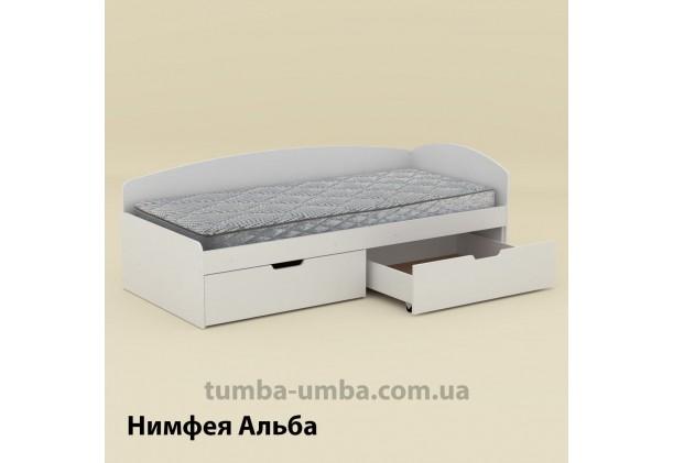 фото односпальная кровать 90+2С с бельевыми ящиками для хранения и бортиком в цвете Нимфея Альба (белый структурный) дешево от производителя с доставкой по всей Украине.