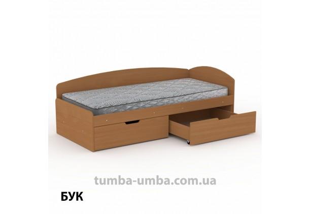 фото односпальная кровать 90+2С с бельевыми ящиками для хранения и бортиком в цвете бук дешево от производителя с доставкой по всей Украине.