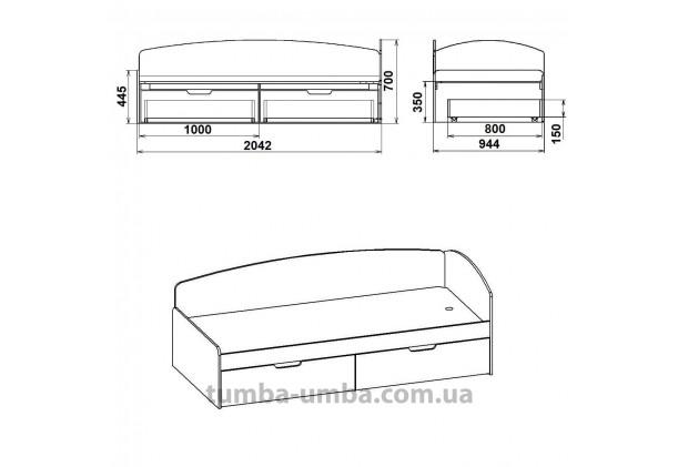 фото односпальная кровать 90+2С с бельевыми ящиками для хранения и бортиком размеры дешево от производителя с доставкой по всей Украине.