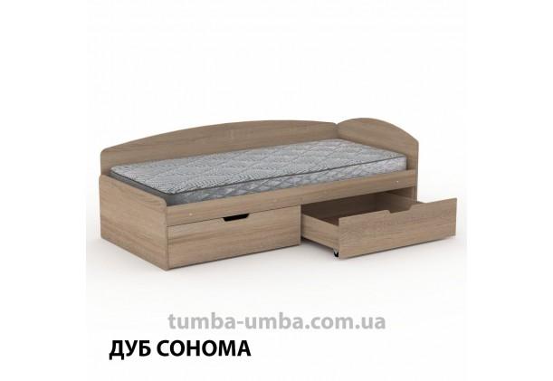 фото односпальная кровать 90+2С с бельевыми ящиками для хранения и бортиком в цвете дуб сонома дешево от производителя с доставкой по всей Украине.